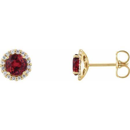 Genuine Ruby Earrings in 14 Karat Yellow Gold Ruby & 1/6 Carat Diamond Earrings