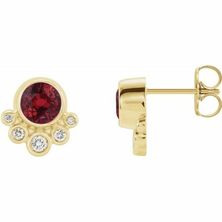 Genuine Ruby Earrings in 14 Karat Yellow Gold Ruby & 1/8 Carat Diamond Earrings