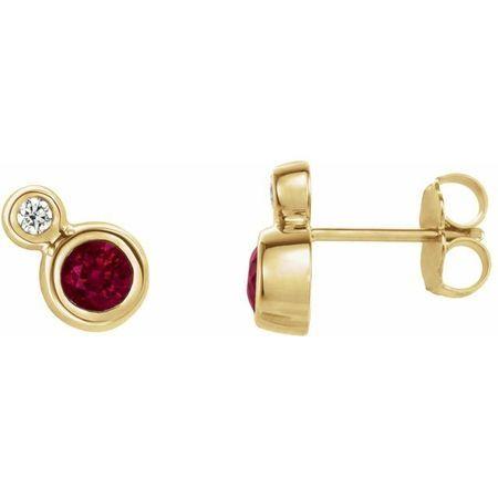 Genuine Ruby Earrings in 14 Karat Yellow Gold Ruby & 1/8 Carat Diamond Earrings