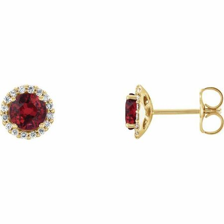 14 Karat Yellow Gold Ruby & .125 Carat Weight Diamond Earrings