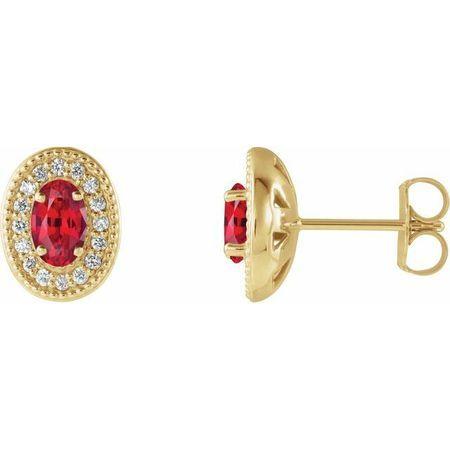 Natural Ruby Earrings in 14 Karat Yellow Gold Ruby & 1/8 Carat Diamond Halo-Style Earrings