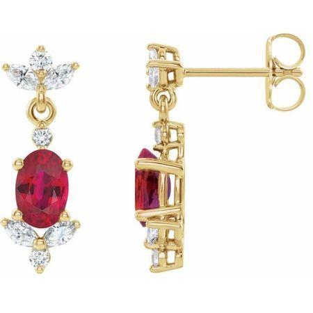 Genuine Ruby Earrings in 14 Karat Yellow Gold Ruby & 3/8 Carat Diamond Earrings