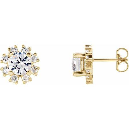 Genuine Sapphire Earrings in 14 Karat Yellow Gold Sapphire & 1/2 Carat Diamond Earrings