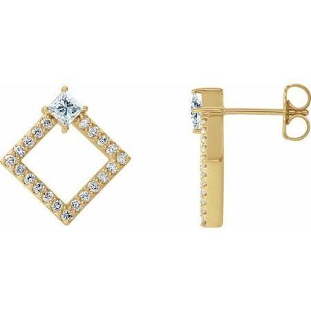 Genuine Sapphire Earrings in 14 Karat Yellow Gold Sapphire & 1/3 Carat Diamond Earrings
