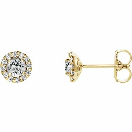 Genuine Sapphire Earrings in 14 Karat Yellow Gold Sapphire & 1/5 Carat Diamond Earrings