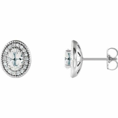 Genuine Sapphire Earrings in 14 Karat Yellow Gold Sapphire & 1/5 Carat Diamond Halo-Style Earrings