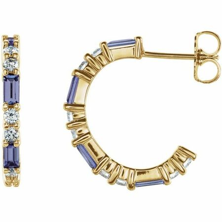 Genuine Tanzanite Earrings in 14 Karat Yellow Gold Tanzanite & 1/2 Carat Diamond Earrings