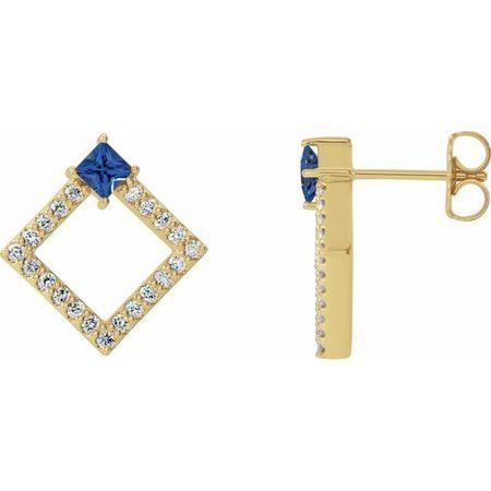Genuine Tanzanite Earrings in 14 Karat Yellow Gold Tanzanite & 1/3 Carat Diamond Earrings