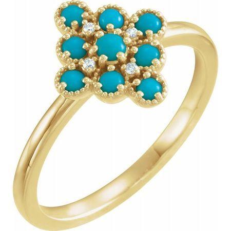 Genuine Turquoise Ring in 14 Karat Yellow Gold Turquoise & .02 Carat Diamond Ring