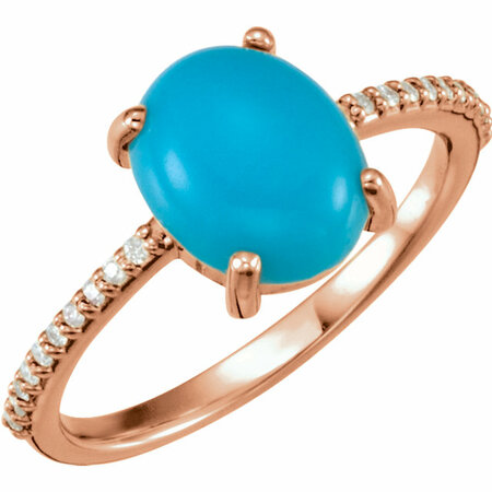 Genuine Turquoise Ring in 14 Karat Rose Gold 10x8mm Oval Cabochon Turquoise & 0.10 Carat Diamond Ring