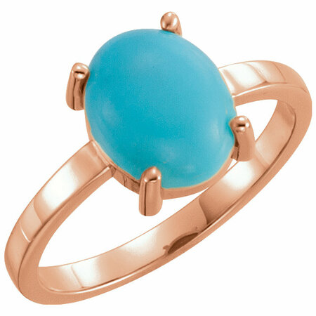 Genuine Turquoise Ring in 14 Karat Rose Gold 10x8mm Oval Turquoise Cabochon Ring