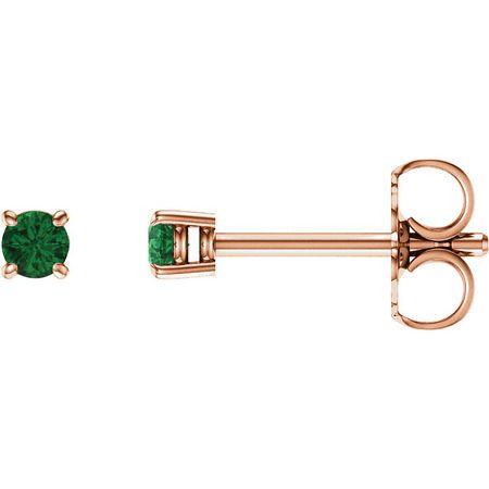 Shop 14 Karat Rose Gold 2.5mm Round Emerald Earrings