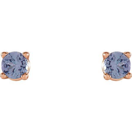 14 Karat Rose Gold 2.5mm Round Tanzanite Earrings
