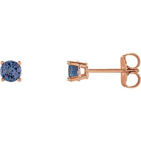 Buy 14 Karat Rose Gold 4mm Round Tanzanite Earrings