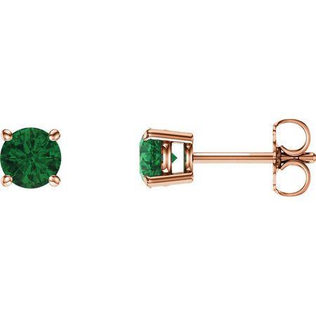 Shop 14 Karat Rose Gold 5mm Round Emerald Earrings