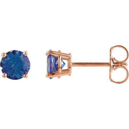 14 Karat Rose Gold 5mm Round Tanzanite Earrings