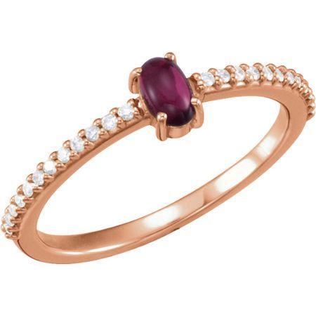 Buy 14 Karat Rose Gold 5x3mm Oval Cabochon Pink Tourmaline & 0.12 Carat Diamond Ring