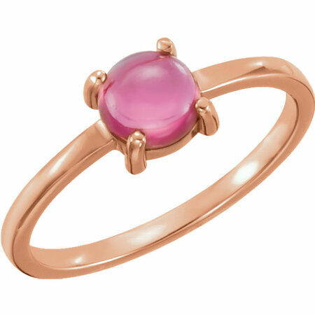 Buy 14 Karat Rose Gold 6mm Round Pink Tourmaline Cabochon Ring