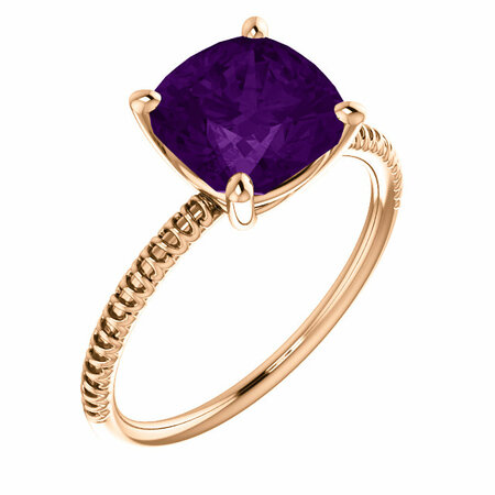Genuine Amethyst Ring in 14 Karat Rose Gold Amethyst Ring