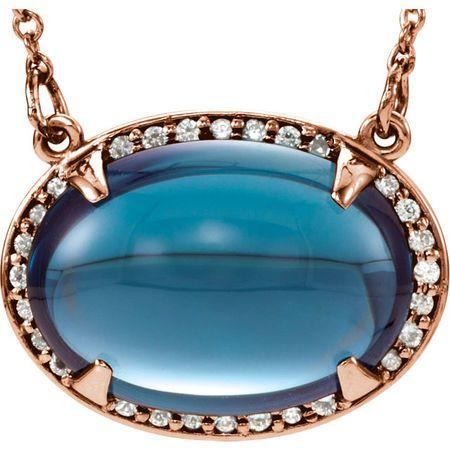 Shop 14 Karat Rose Gold London Blue Topaz & .08 Carat Diamond Halo-Style 16.5