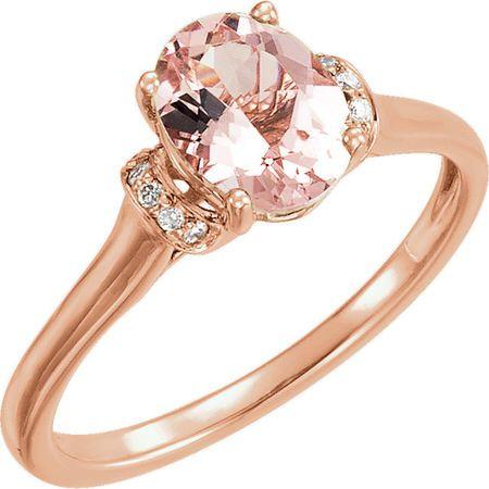 Shop 14 Karat Rose Gold Morganite & .05 Carat Diamond Ring