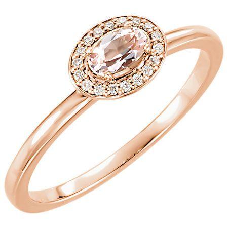 14 Karat Rose Gold Morganite & .05 Carat Diamond Ring