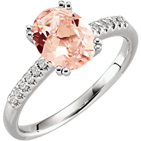 14 KT Rose Gold Morganite & .08 Carat TW Diamond Ring