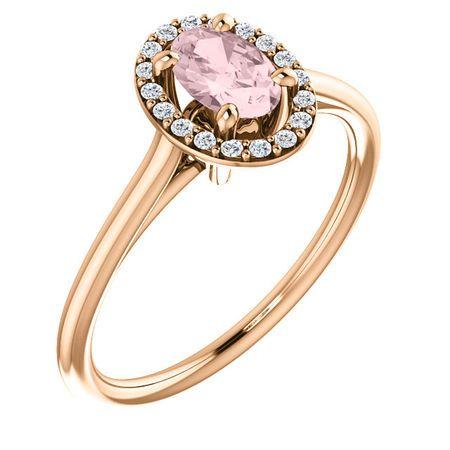 14 Karat Rose Gold Morganite & 0.10 Carat Diamond Ring