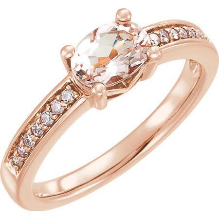 Buy 14 Karat Rose Gold Morganite & 0.10 Carat Diamond Ring