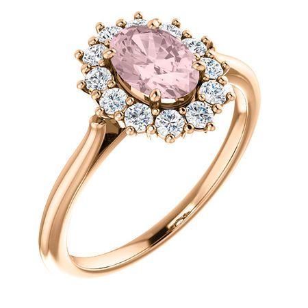 Buy 14 Karat Rose Gold Morganite & 0.33 Carat Diamond Ring