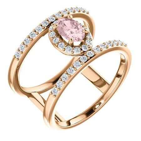 14 Karat Rose Gold Morganite & 0.33 Carat Diamond Ring