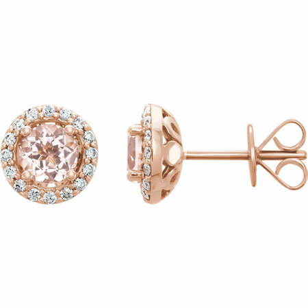 14 Karat Rose Gold Morganite & 0.20 Carat Diamond Earrings