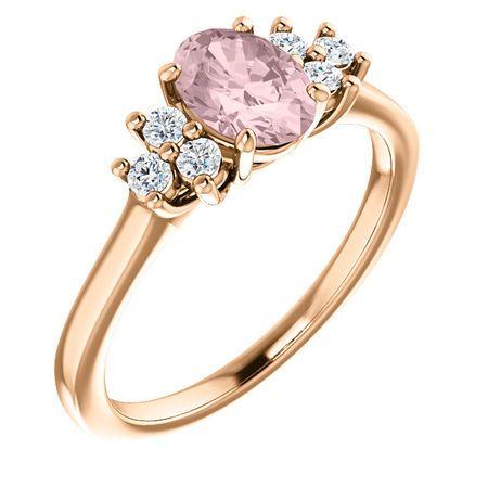 Shop 14 Karat Rose Gold Morganite & 0.20 Carat Diamond Ring