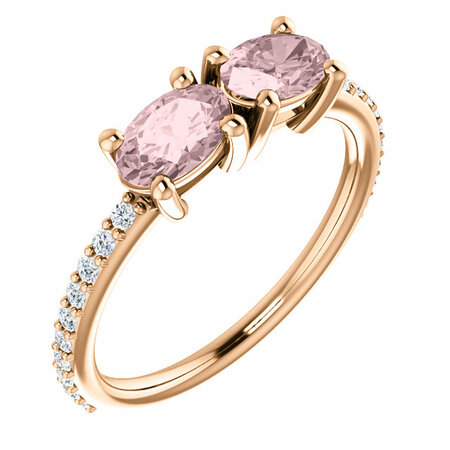14 Karat Rose Gold Morganite & 0.20 Carat Diamond Ring