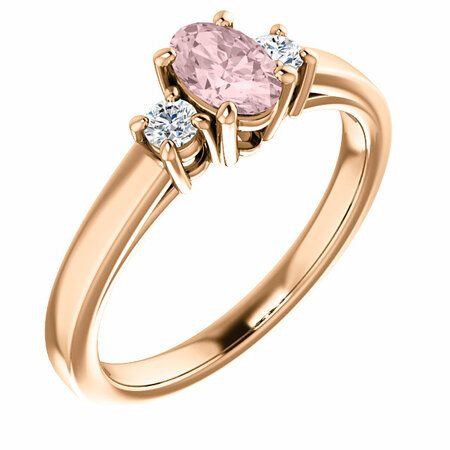 14 Karat Rose Gold Morganite & 0.12 Carat Diamond Ring