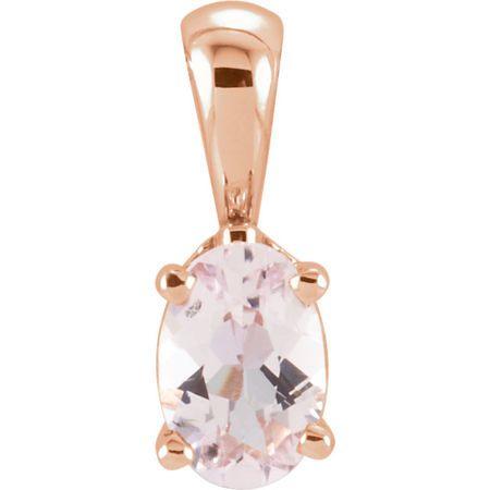Pink Morganite Pendant in 14 Karat Rose Gold Morganite Pendant