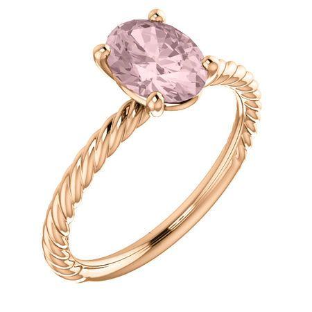 Pink Morganite Ring in 14 Karat Rose Gold Morganite Ring