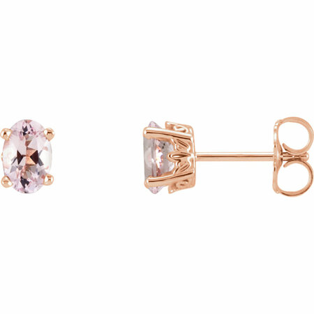 Pink Morganite Earrings in 14 Karat Rose Gold Pink Oval Morganite Earrings