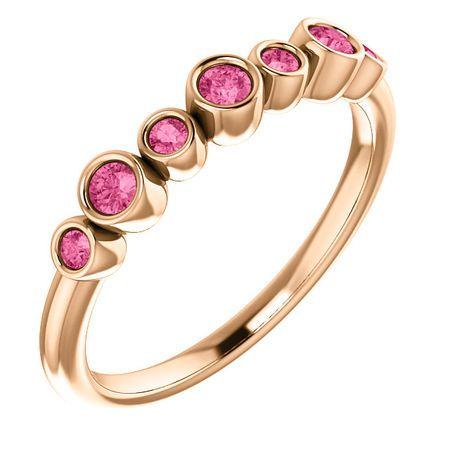 14 Karat Rose Gold Pink Tourmaline Bezel-Set Ring