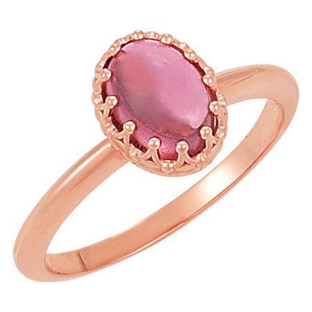 14 Karat Rose Gold Pink Tourmaline Crown Ring