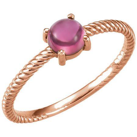 Genuine 14 Karat Rose Gold Pink Tourmaline Cabochon Ring