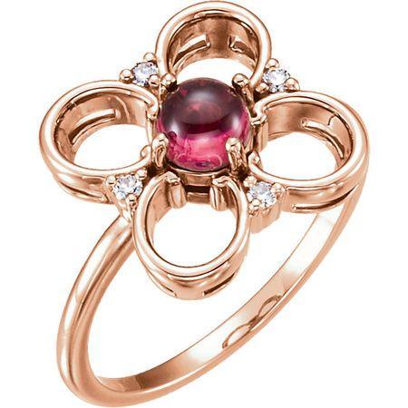 Buy 14 Karat Rose Gold Pink Tourmaline & Diamond Clover Ring