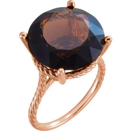 Genuine 14 Karat Rose Gold Gold Smoky Quartz Ring