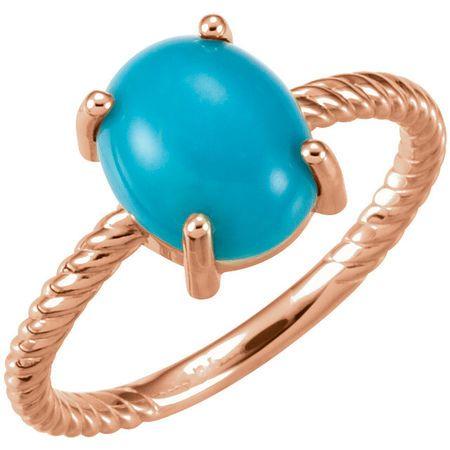 Genuine Turquoise Ring in 14 Karat Rose Gold Turquoise Cabochon Ring