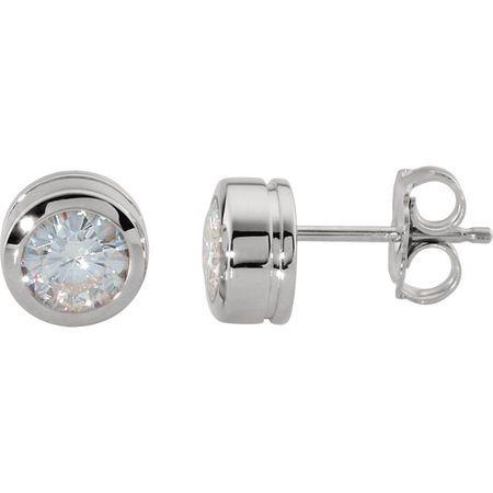 14 KT White 5mm Round Forever Classic Moissanite Bezel Set Stud Earrings