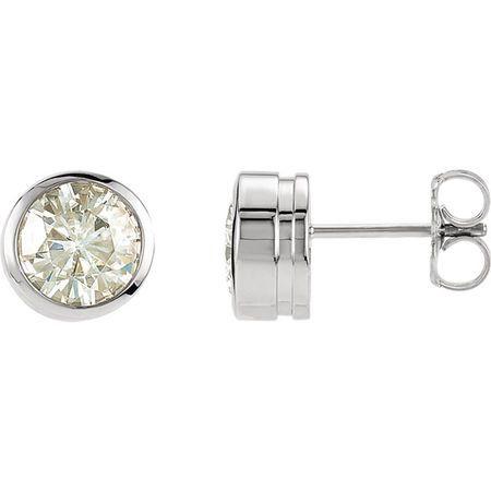 14 KT White 6.5mm Round Forever Classic Moissanite Bezel Set Stud Earrings
