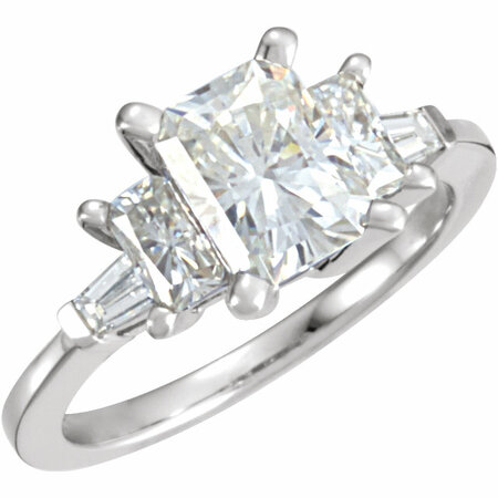 14 KT White Forever Classic Moissanite & 1/6 Carat TW Diamond Three-Stone Engagement Ring