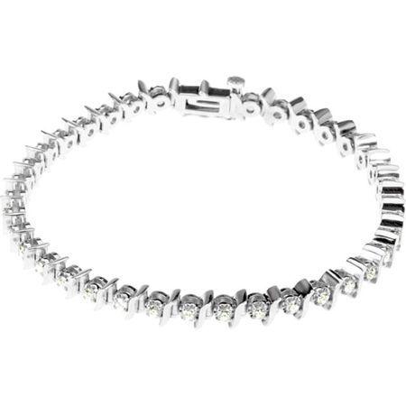 White Diamond Bracelet in 14 Karat White Gold 0.50 Carat Diamond Line 7.25