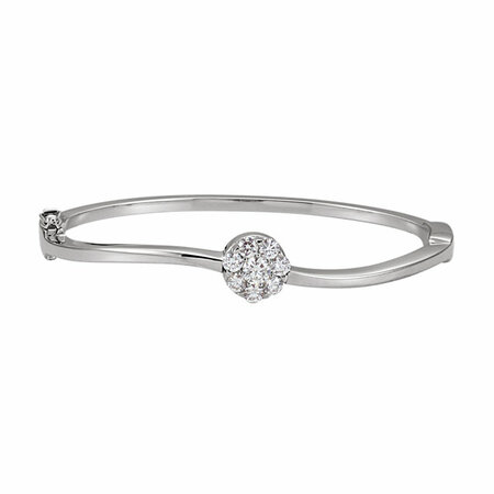 Shop 14 Karat White Gold 1 Carat Diamond Circle Bangle Bracelet