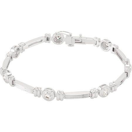 Genuine  14 Karat White Gold 1 Carat Diamond Line Bracelet